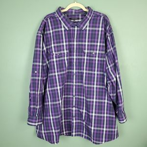 Synrgy Button Up Purple Plaid Long Sleeve Shirt
